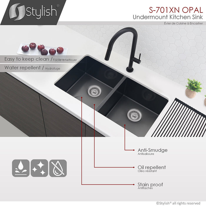 STYLISH 32 inch Single Bowl Undermount Stainless Steel Kitchen Sink