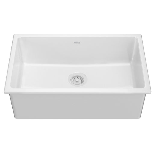 "KRAUS 30"" Drop-In Undermount Fireclay Single Bowl Kitchen Sink in Gloss White"
