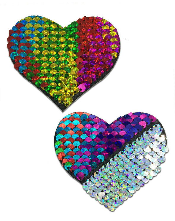 Love: Rainbow & Silver Glitter Color Changing Sequin Heart Nipple Pasties