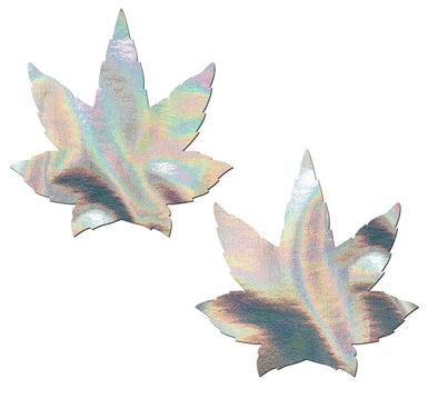 Indica Pot Leaf: Silver Holographic Weed Nipple Pasties