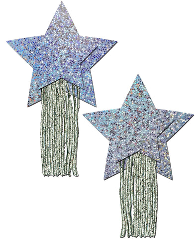 Star: Tassel Pasties: Silver Glitter Star with Fringe Nipple Pasties