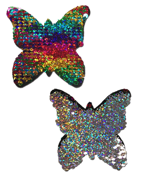 Monarch: Rainbow & Silver Glitter Color Changing Sequin Nipple Pasties