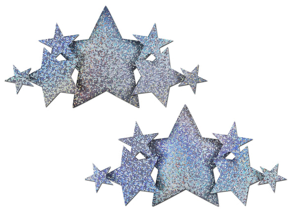 Pastease Demi: Silver Glitter Stars Breast Cover Pasties