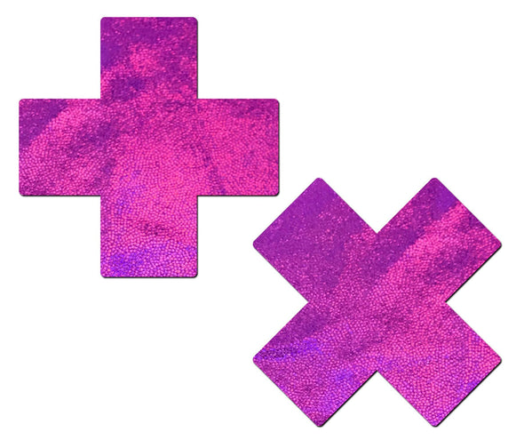 Plus X: Pink Holographic Cross Nipple Pasties