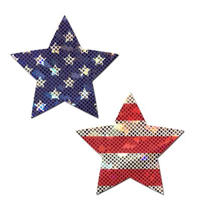Star: Glittering Stars & Stripes Nipple Pasties