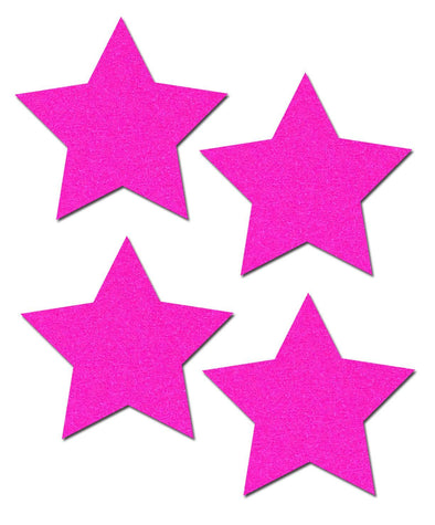 Petites: Two-Pair of Small Neon Pink Star Nipple Pasties