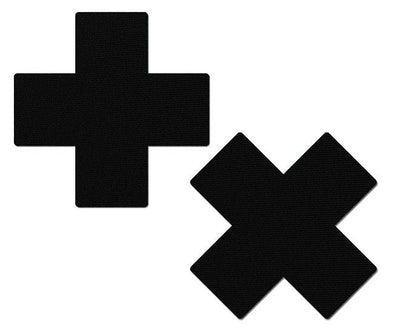 Pastease - Matte Black Cross Nipple Pasties