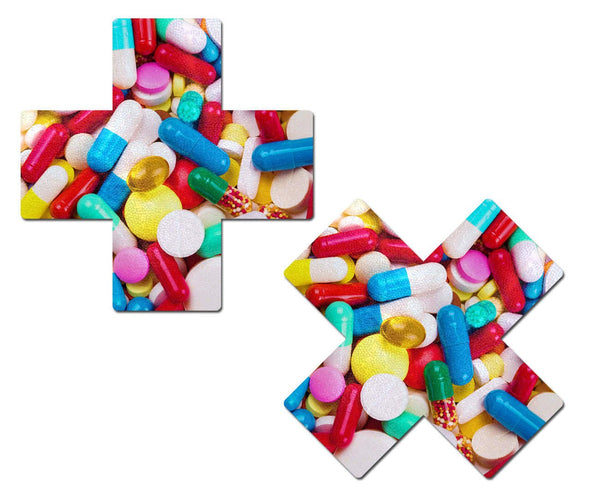 Pastease - Multicolor Prescription Pill Cross Nipple Pasties