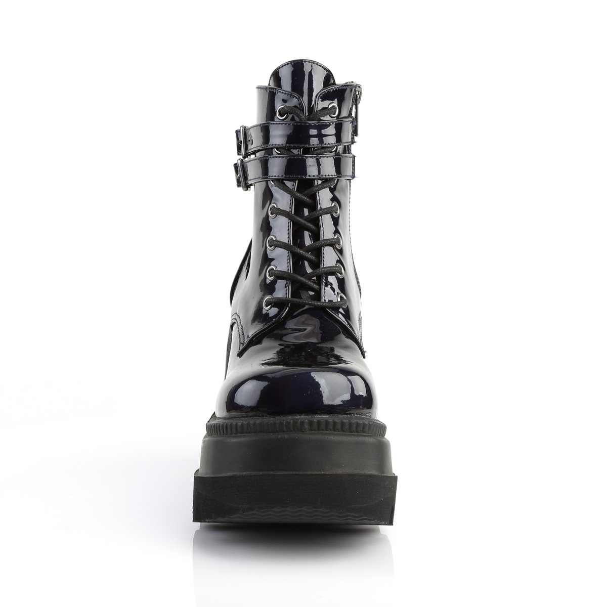 """PLEASER Demonia Shaker-52 4 1//2/"""" Stacked Wedge Platform Lace-Up Front Ankle Boot"""
