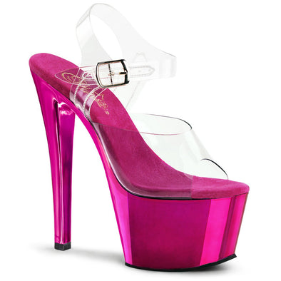 Pleaser SKY-308 - Clear-Hot Pink Chrome - 13