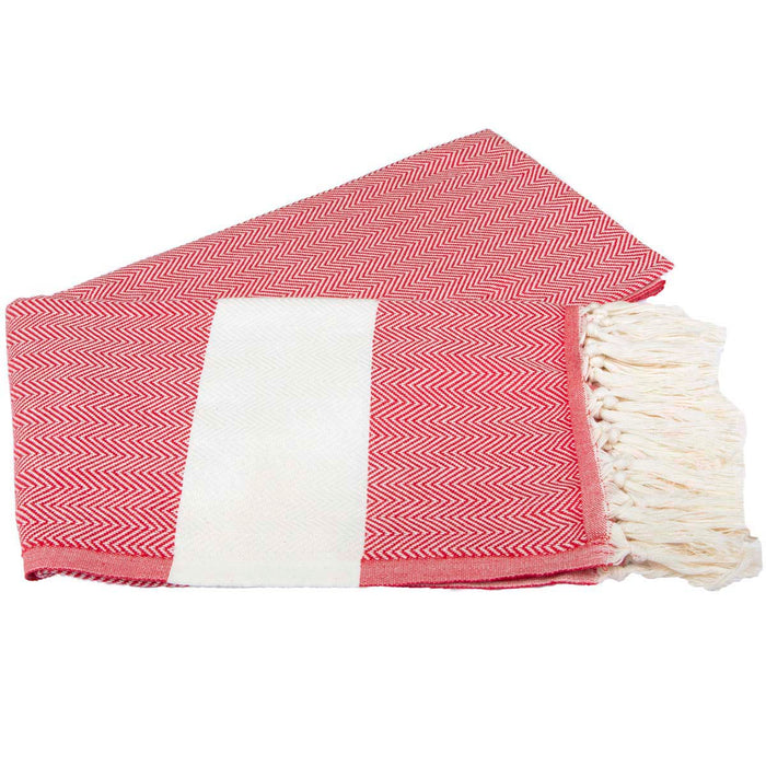 Zig Zag Turkish Peshtemal Towel 100% Cotton Red