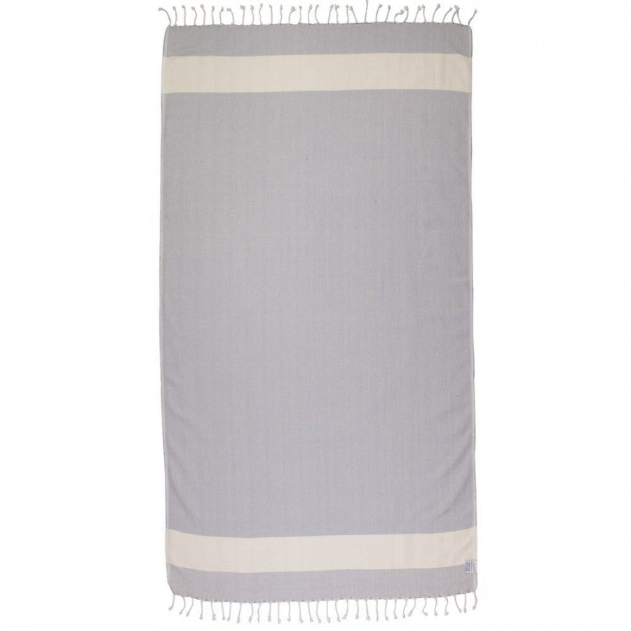Zig Zag Pattern Turkish Peshtemal Bamboo Towel Blue Bell