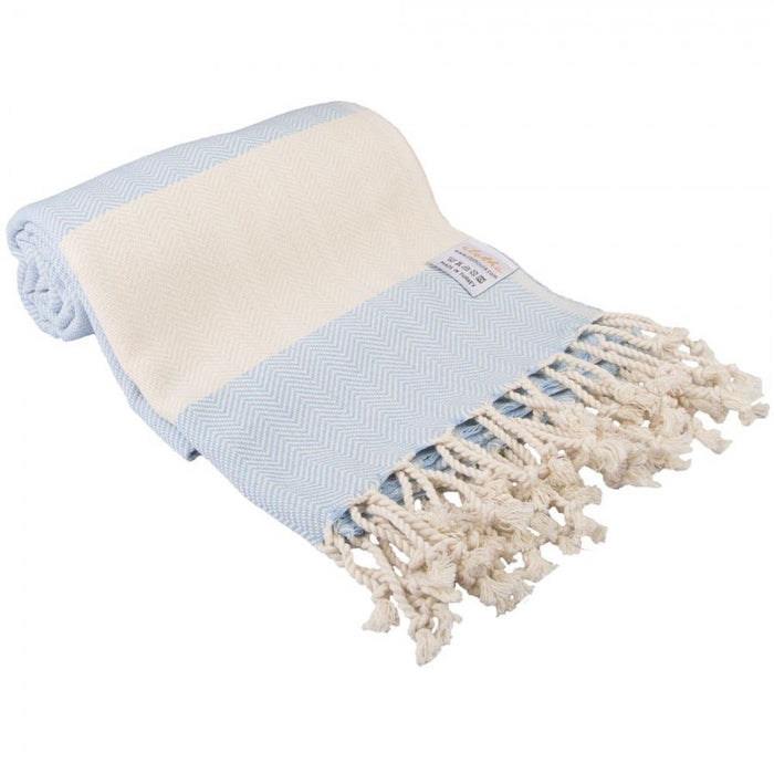 Zig Zag  Turkish Peshtemal Towel 100% Cotton Cornflower