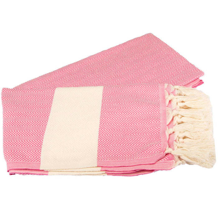 Zig Zag Turkish Peshtemal Towel 100% Cotton Pink