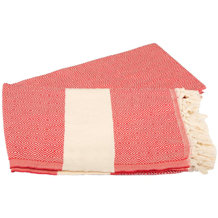 Diamond BordureTurkish Peshtemal Towel %100 Cotton Red