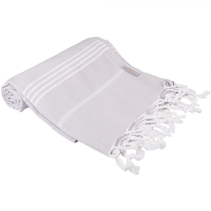 Classic Turkish Peshtemal Towel 100% Cotton Silver Gray