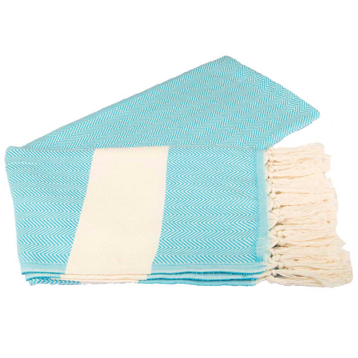 Zig Zag Turkish Peshtemal Towel 100% Cotton Turquoise