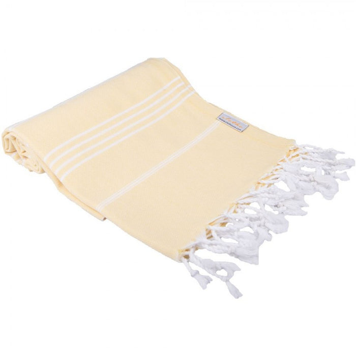 Classic Turkish Peshtemal Towel 100% Cotton Light Yellow