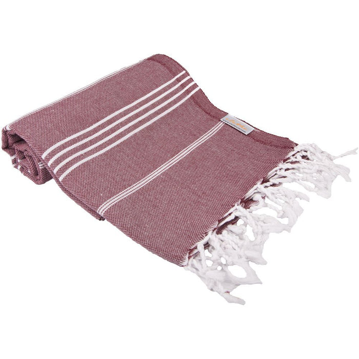 Classic Turkish Peshtemal Towel 100% Cotton Burgundy