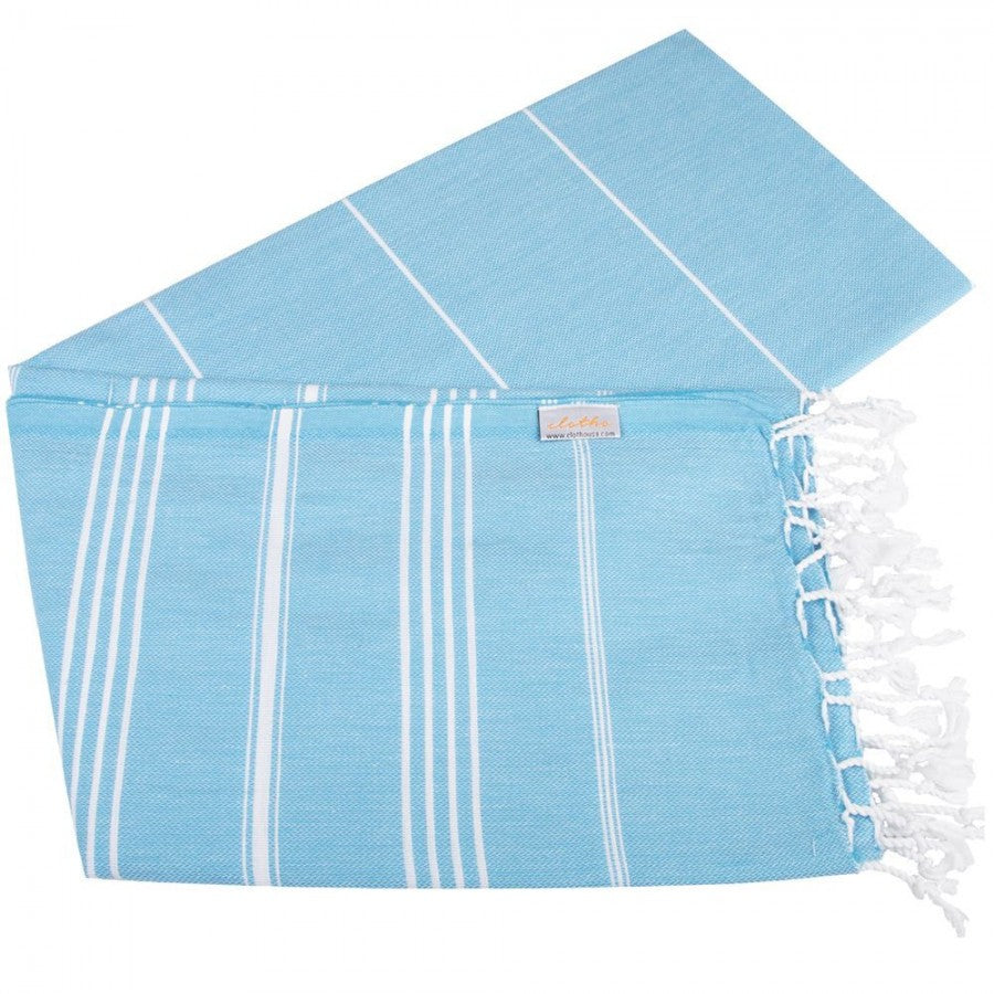 Classic Turkish Peshtemal Towel 100% Cotton Turquoise