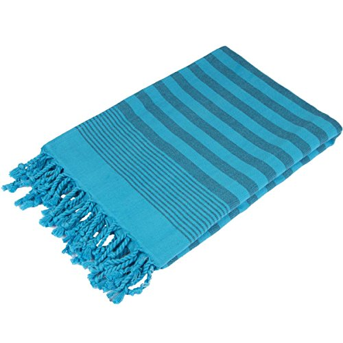 Terry Peshtemal Towel 100% Cotton Turquoise Blue