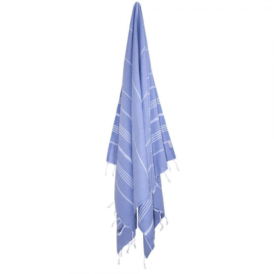 Classic Turkish Peshtemal Towel 100% Cotton Gray Blue