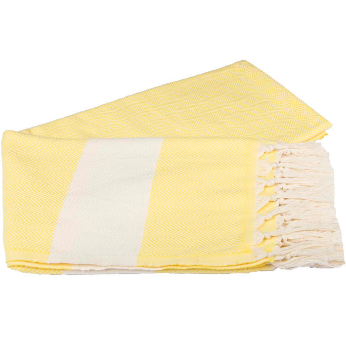 Zig Zag Turkish Peshtemal Towel 100% Cotton Bright Yellow