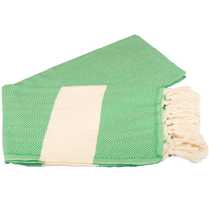 Zig Zag Turkish Peshtemal Towel 100% Cotton Green