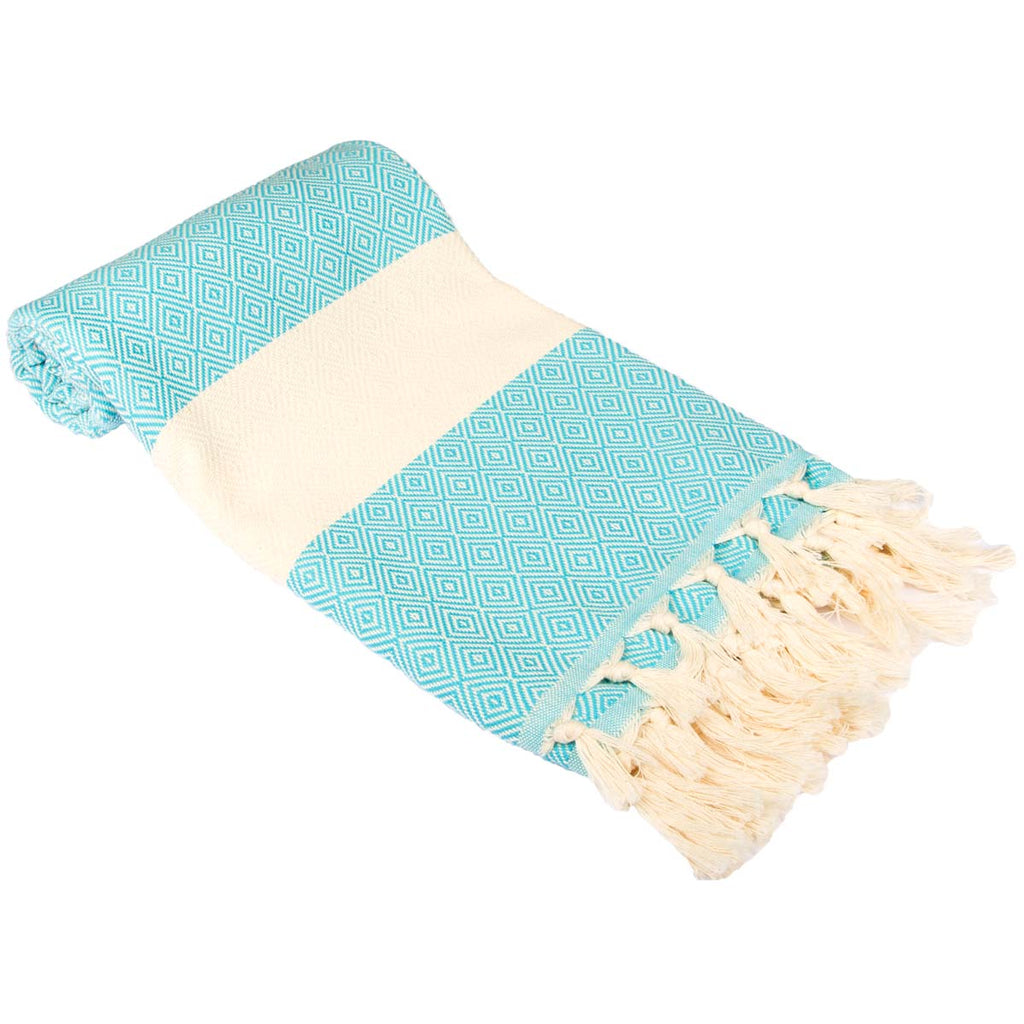 Diamond Bordure Turkish Peshtemal %100 Cotton Turquoise
