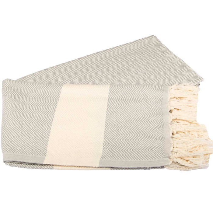 Zig Zag Turkish Peshtemal Towel 100% Cotton Silver Gray