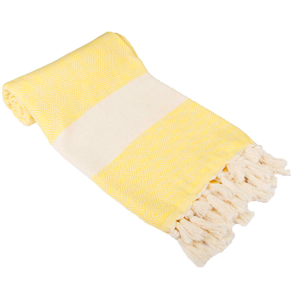 Diamond Bordure Turkish Peshtemal %100 Cotton Bright Yellow