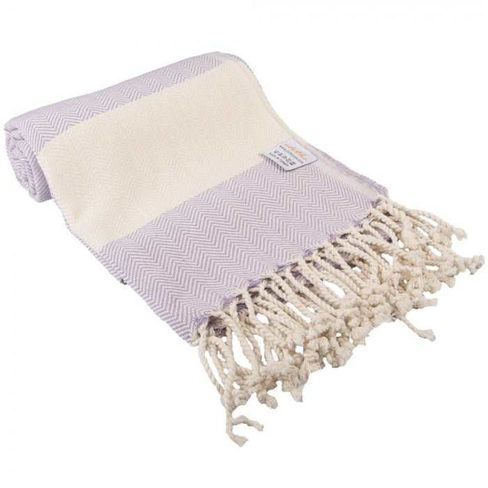 Zig Zag Turkish Peshtemal Towel 100% Cotton Purple