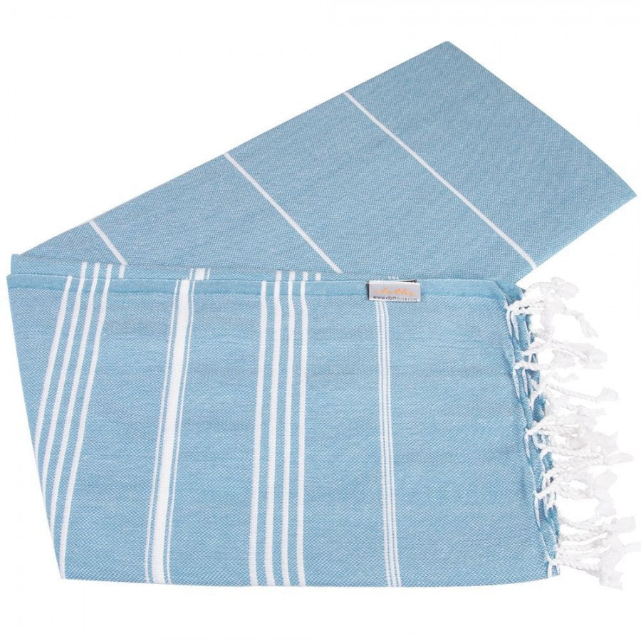 Clotho Classic Turkish Peshtemal Towel 100% Cotton Aegean Blue