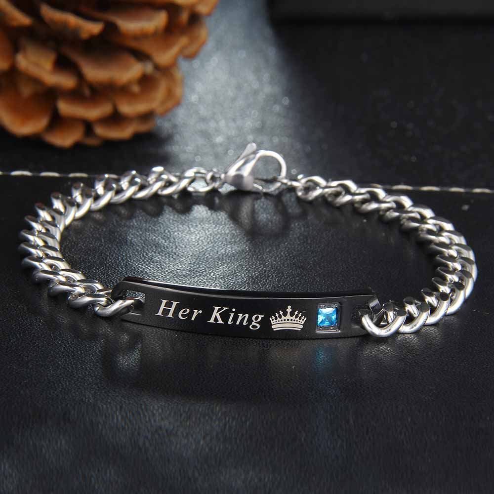 Her King & His Queen Couple Bracelets  Crystal Crown