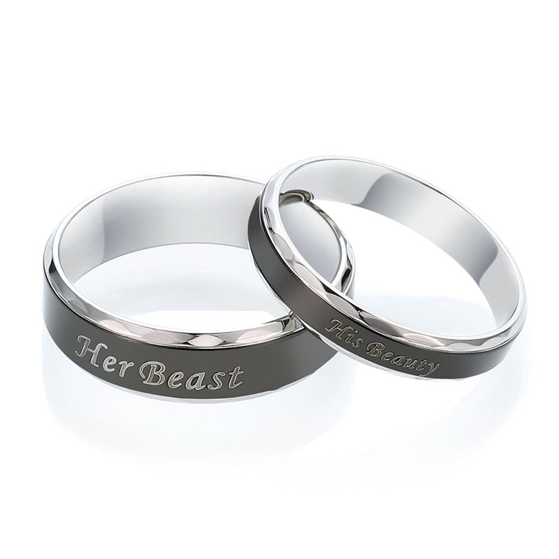 Couple Rings : Her Beast His Beauty Ring Stainless Steel Rings