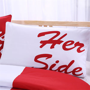 His Her Side Couple Pillow Cover 2Pcs 2 Sizes