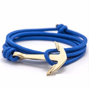 Silver Alloy Anchor Bracelet Multilayered Leather