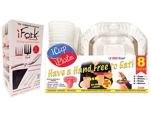 iCup/iPlate Pack + iFork Box Combo Pack - Clear, intelligently designed Cups and Plates by iFork