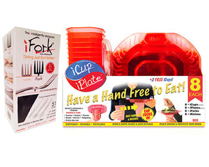 iCup/iPlate Pack + iFork Box Combo Pack - Red, intelligently designed Cups and Plates by iFork