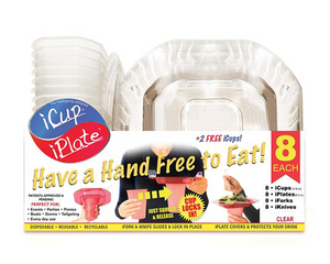 iCup iPlate iFork 8 Pack Combo - Clear, intelligently designed Cups and Plates by iFork