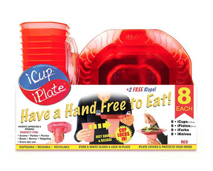iCup iPlate iFork 8 Pack Combo - Red, intelligently designed Cups and Plates by iFork