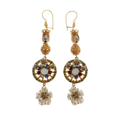 Dolce & Gabbana Crystal Gold Cart Wheel Pupi Doll Dangling Hook Earring