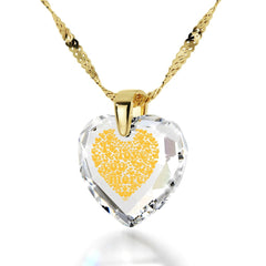 """I Love You More"", 14k Gold Necklace, Cubic Zirconia"