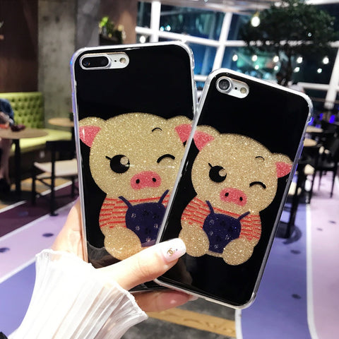 Picture of Cute Cartoon Pig Glitter Powder Sweet Lovers For Iphone