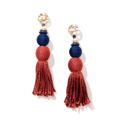 Elegant Genuine Gemstone Gold Plated Homegrown Tassel Earring