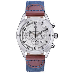 AVIATOR CHRONOGRAPH  SILVER NAVY CANVAS