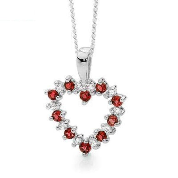 20 Stone Heart Pendant with Rubies - Ottery Jewellery