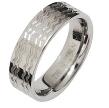 Load image into Gallery viewer, Tungsten Ring with Waves US Size 8 - Ottery Jewellery