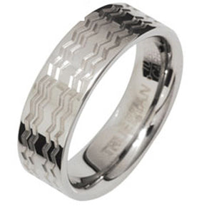 Tungsten Ring with Waves US Size 8 - Ottery Jewellery