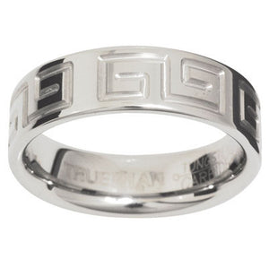 Tungsten Ring with Greek Key - US Size 8 - Ottery Jewellery
